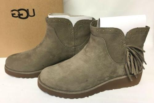 Ugg Australia Cindy Fringe Spruce Womens Leather Ankle Boots