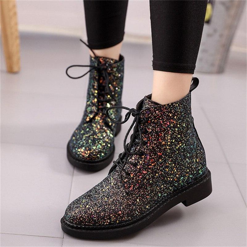 Crystal <font><b>Boots</b></font> Heels Platform Winter Female <font><b>Brand</b></font> Woman Glitter Flat