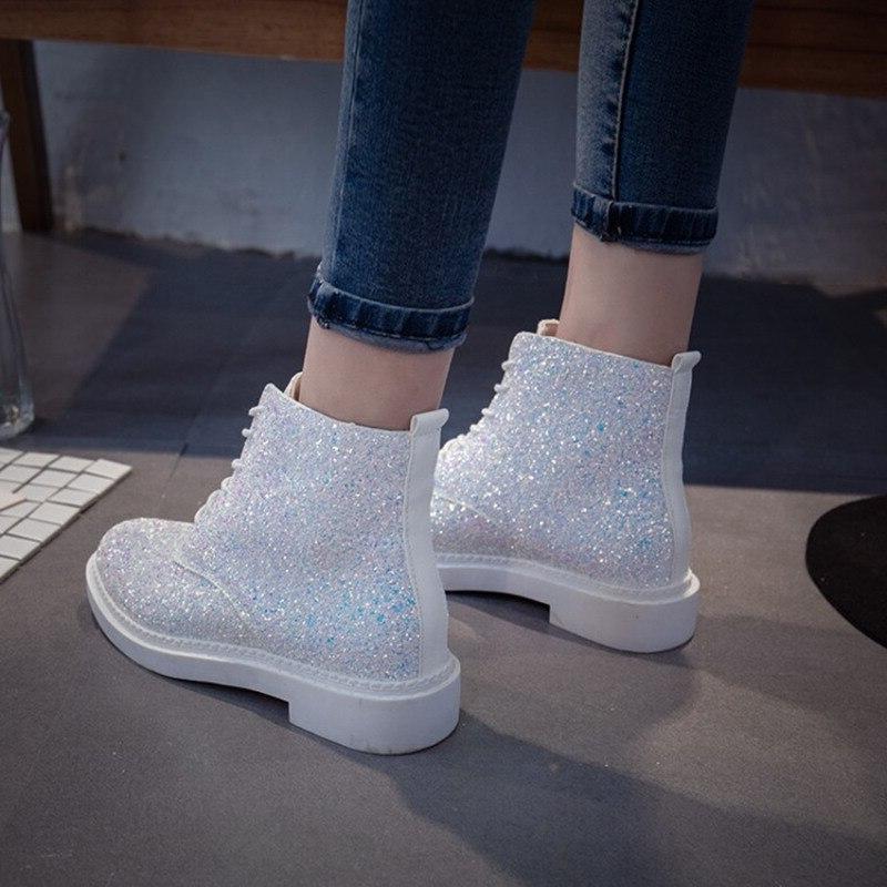 Crystal <font><b>Boots</b></font> Heels Winter Female <font><b>Brand</b></font> Solid Glitter Flat <font><b>Boots</b></font>
