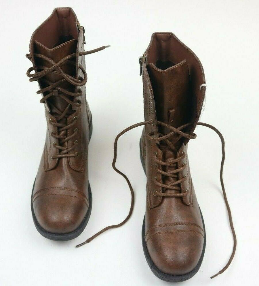 Brash Deejay Womens Boots Brown Top Military Combat Brand New