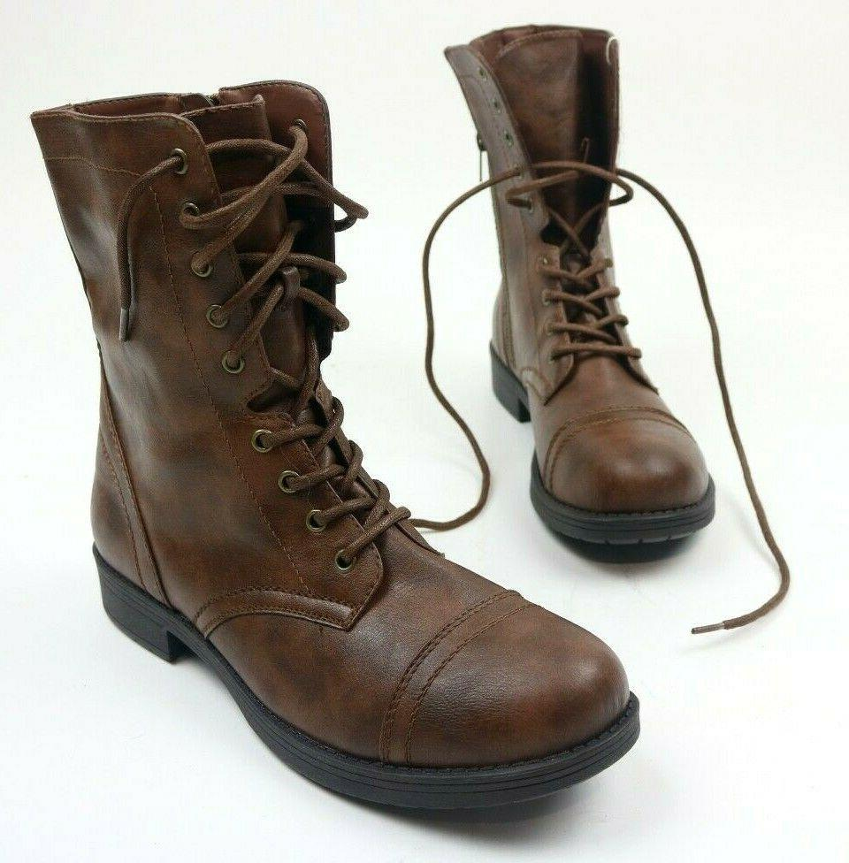 Brash Deejay Boots Brown High Military Combat 12