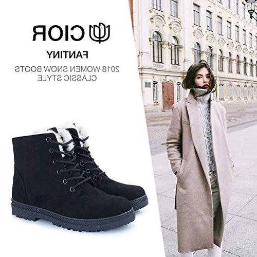 CIOR Snow Boots Winter Lace up Flat Platform Shoes,NX01,Black,41,2018