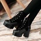 Fashion womens vintage chunky heel platform lace up ankle bo