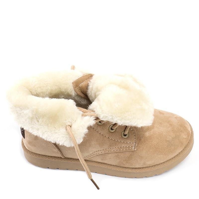 <font><b>ALEADER</b></font> Fashion <font><b>Women</b></font> Ankle <font><b>Boots</b></font> Winter Fur Lightweight Shoes Flat bota feminina
