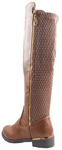 Top Ginger-5 Tan Riding Round Toe Knee High Stretch Elastic Calf
