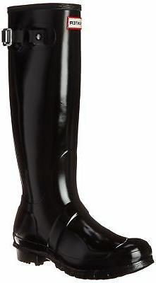 Women's Hunter Original High Gloss Boot, Size 5 M - Black