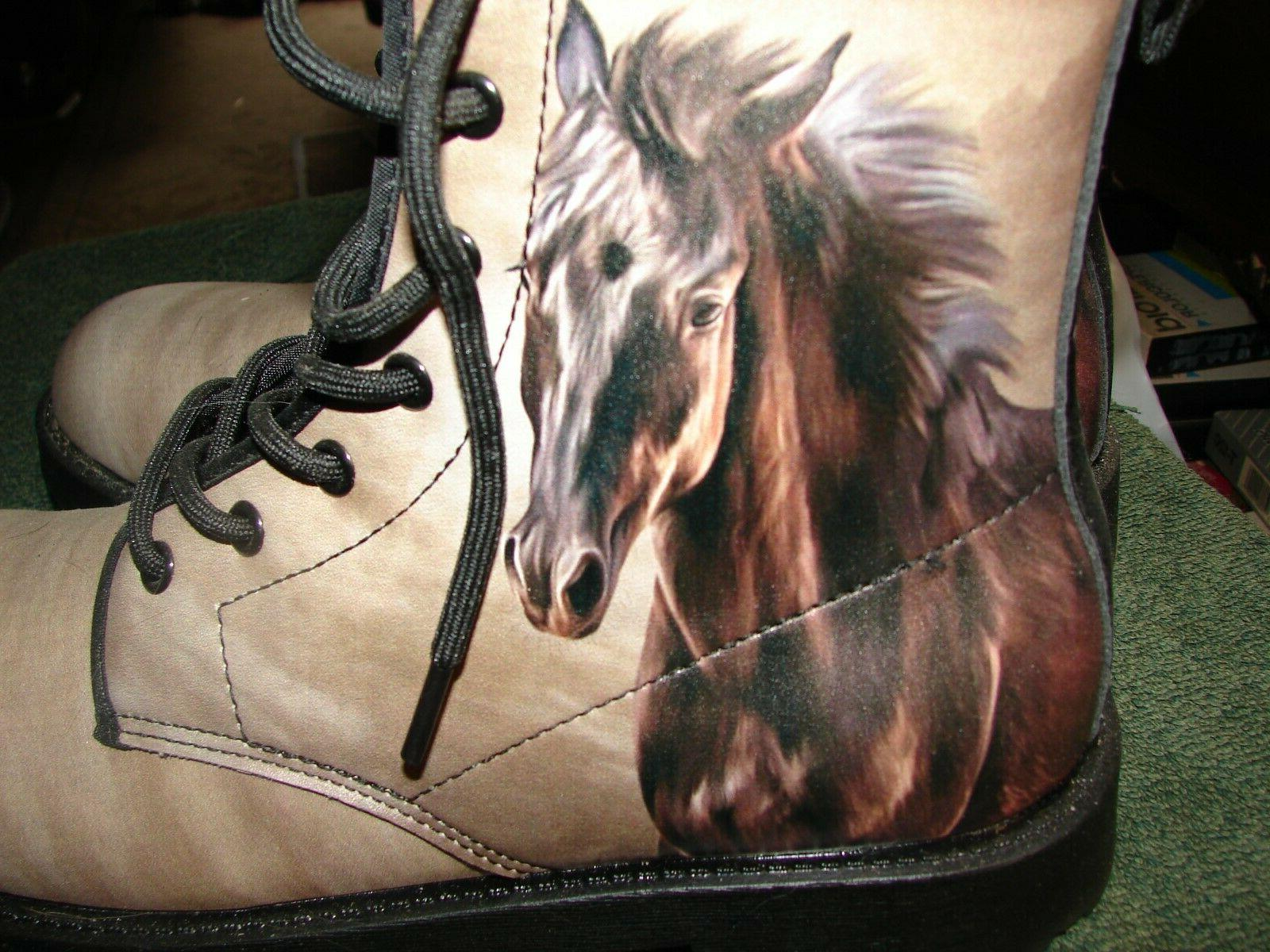 HORSE WOMENS SIZE 8 LEATHER high top NEW. HORSE