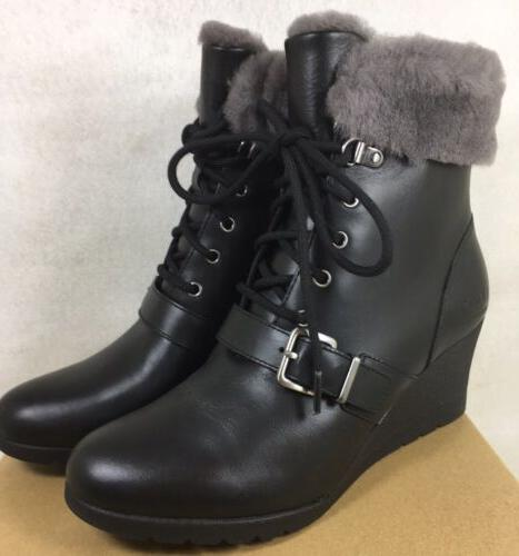 UGG AUSTRALIA JANNEY Black LEATHER SHEARLING WEDGE ANKLE BOO
