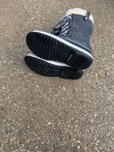 Shearling Winter Boot Dark Grey Black Size 6
