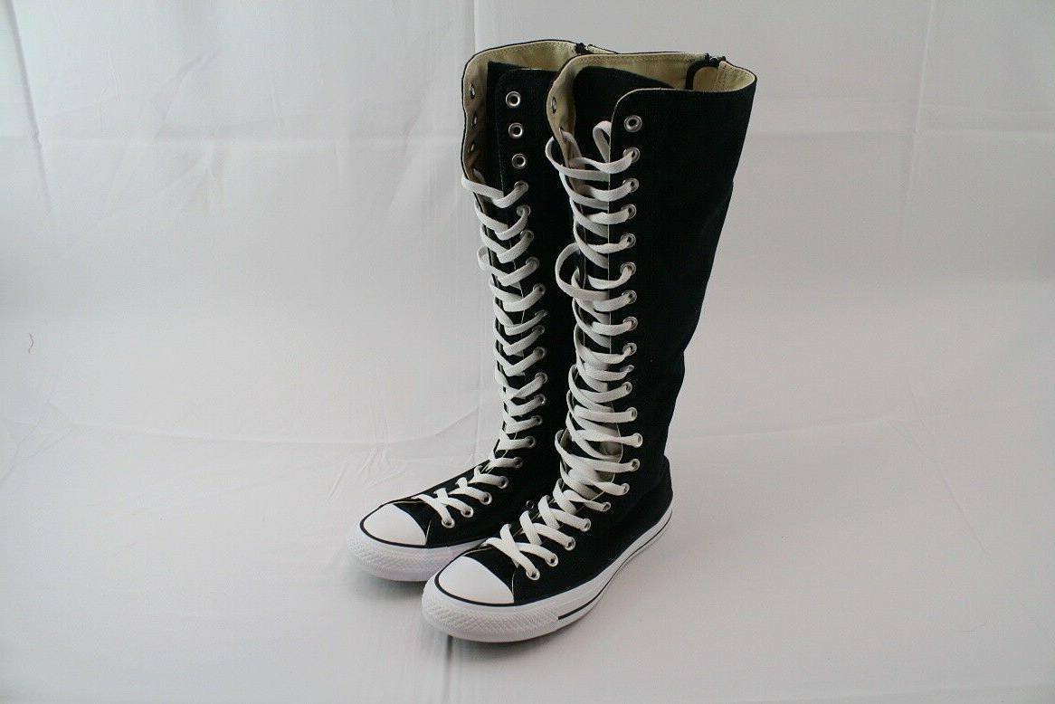 knee high black lace chuck taylor sneakers
