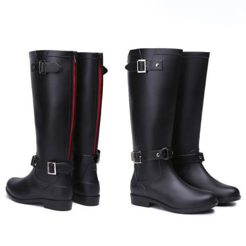 Knee High Rain Boots Women's Ladies Mid-Calf Rubber Shoes St