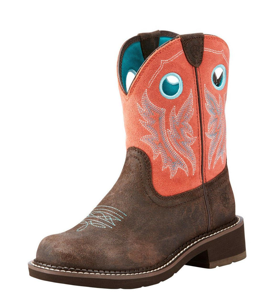 ladies fatbaby heritage cowgirl chocolate coral boots