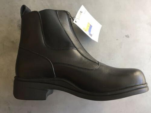 new black leather zip paddock boots size