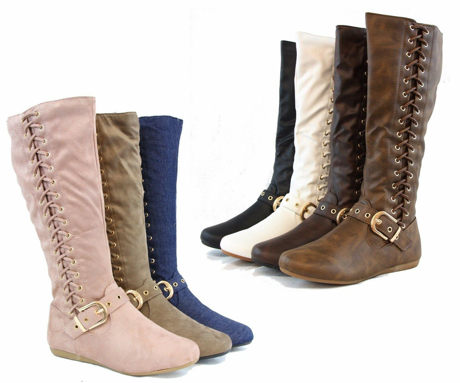 New Design Women Winter Fashion Side-Tie Up Boots Low Knee H