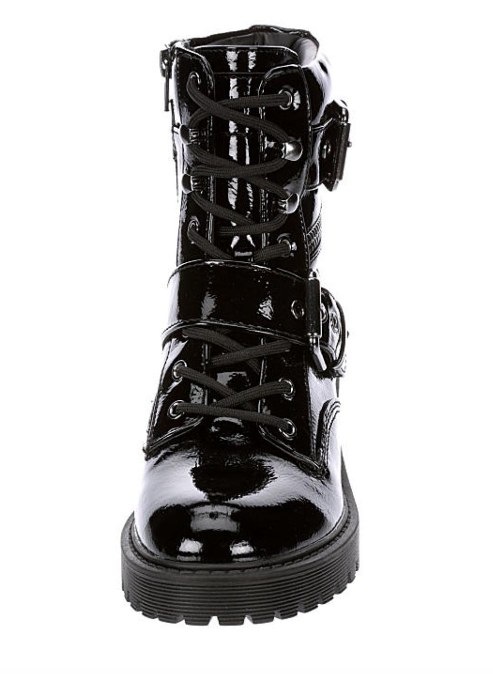 New G By Guess Patent Slayder Casual Boots adjustable buckles Black 6 -10