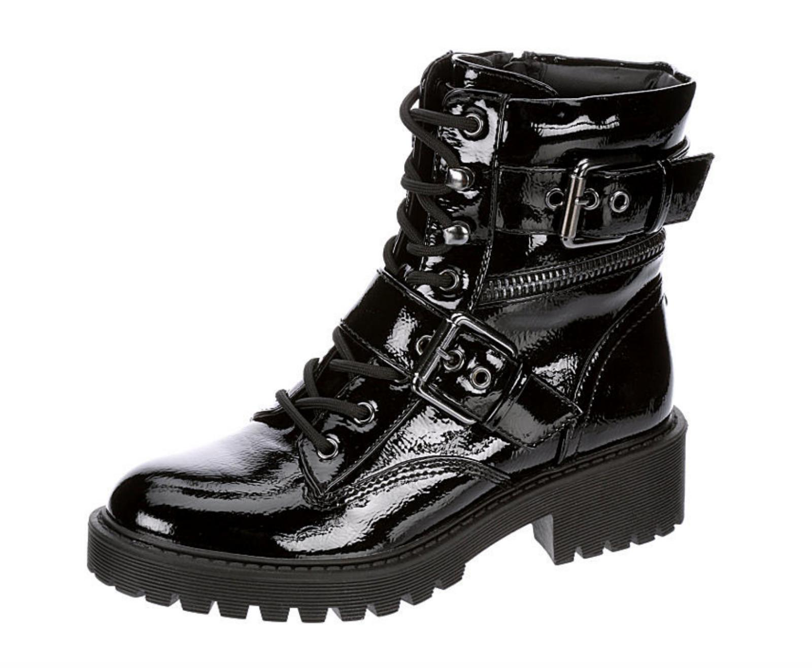 New Guess Patent Slayder Casual Womens Boots buckles 6