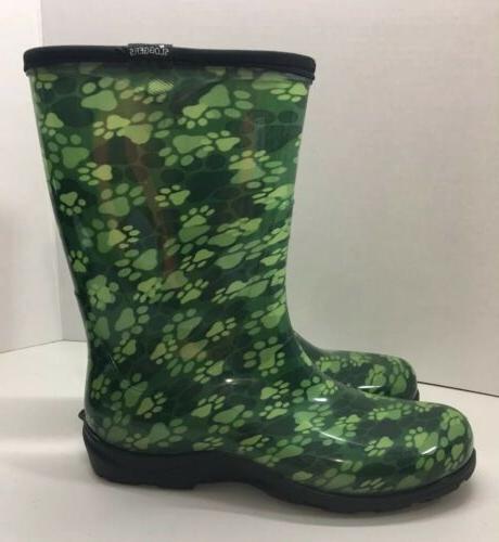 Sloggers New Paw Print Green Waterproof Rain Boots Womens Si
