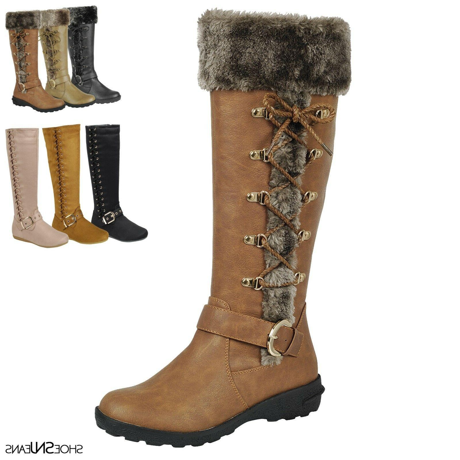 New Women Fashion Lace Up Fur Mid Calf Winter Snow Buckle Bo