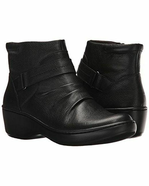 NEW WOMENS CLARKS COLLECTION DELANA FAIRLEE BLACK LEATHER SI
