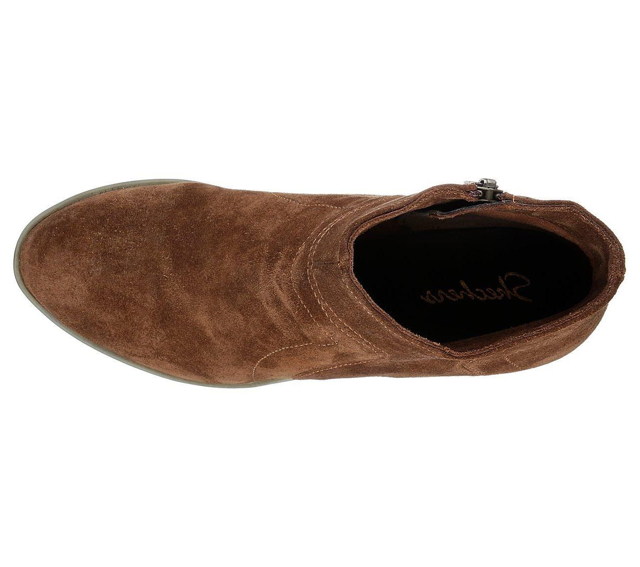 New Womens Skechers Suede Ankle Boots 48719 Brown 112G