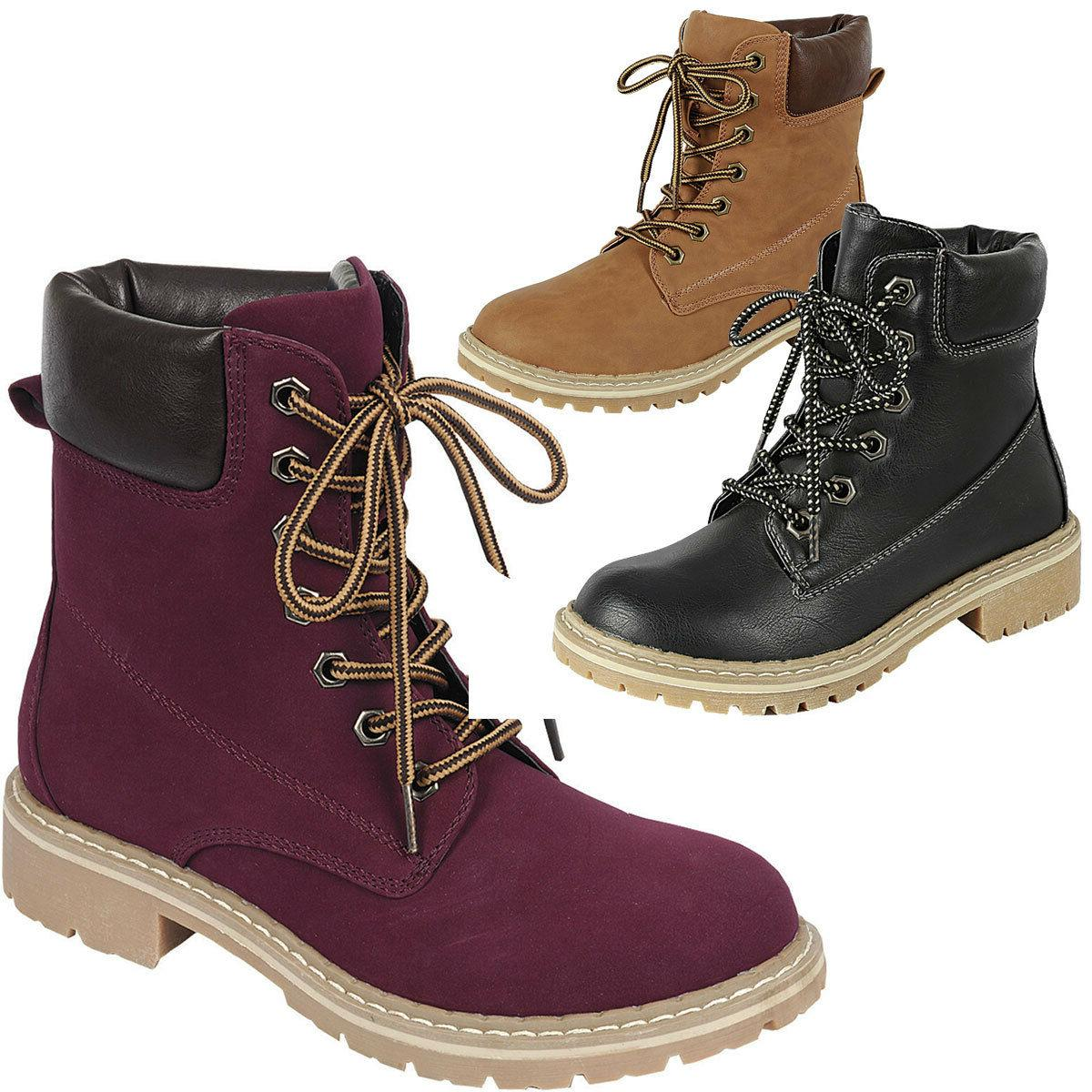 New Womens Military Combat Lace Up Short Ankle Booties Hikin