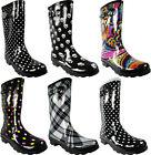 new womens rain boots rubber printed mid
