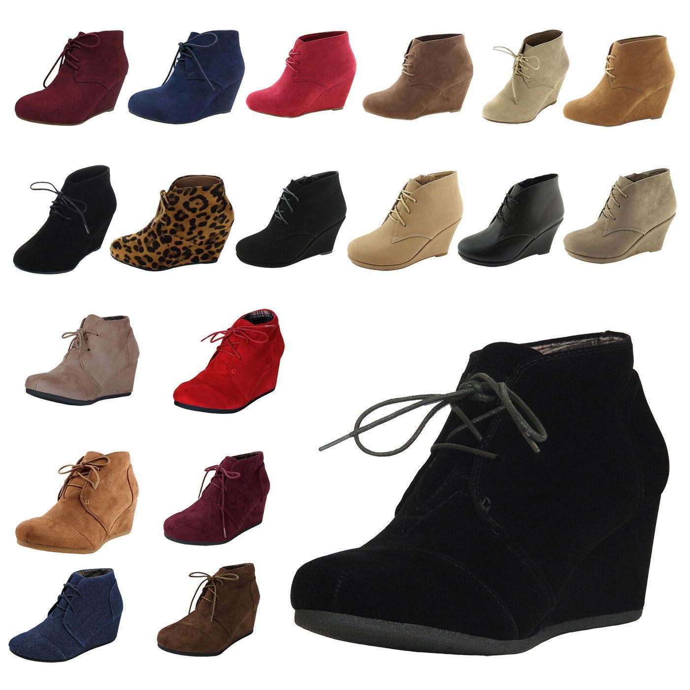 new womens wedge booties oxford high heels