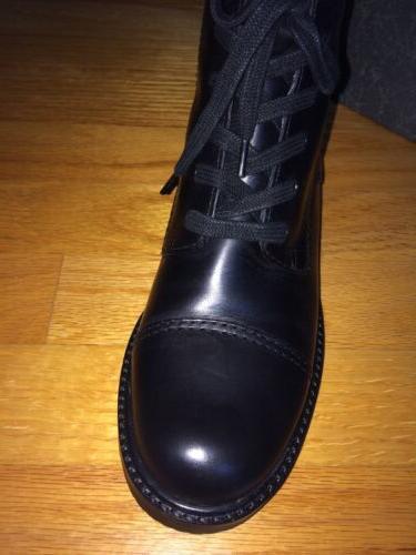 VIA SPIGA NOBLE Black Womens Designer Shoes Lace Up Side Zip