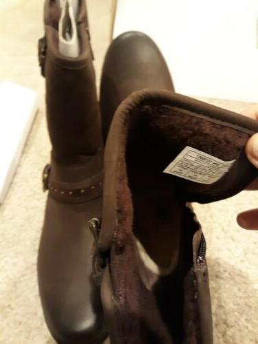 """NWT 11 """"Jensie"""" Leather Side-zip Brown"""