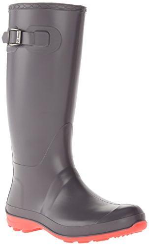Kamik Women's Olivia Rain Boot, Charcoal W PINK BOTTOM, 7 M