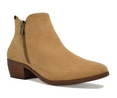 TOETOS PITTS-06 Women's Cowboy Chunky Block Heel Zipper Clos