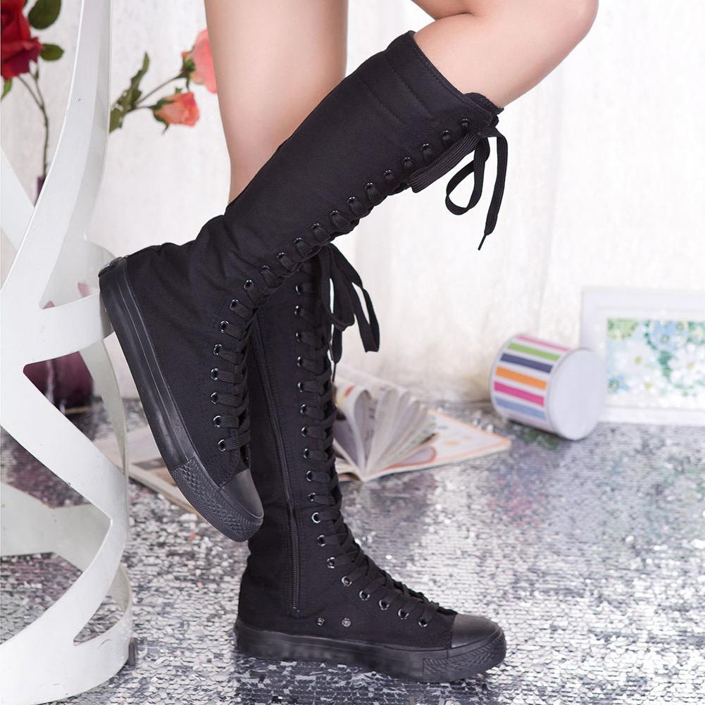 Punk Womens Canvas Sneaker Tall Mid Calf Knee high Boots Zip
