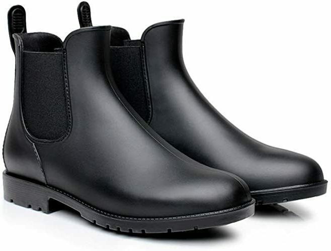 Rain Boots Women Black Chelsea with Elastic Slip On Ankle Ca