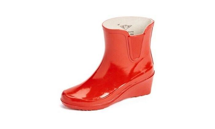 Women Rubber Rain Boots, Black/White Squares Style