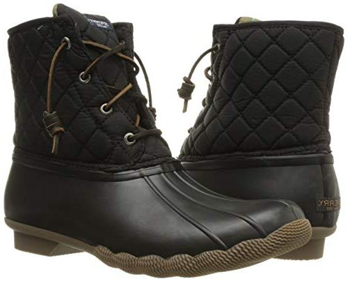Sperry Women's Rain Boot, Black Quilted, 8.5 M US