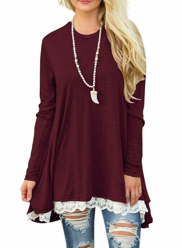 sanifer women lace long sleeve tunic top