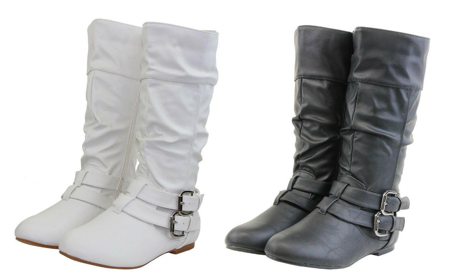 Sexy Women Riding Boots Mid Calf Causal Design Flat Heels Wi