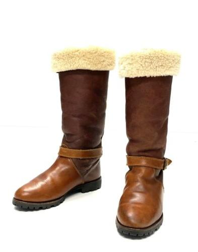 Timberland Shearling Leather Tall Boots Womens 7 Brown