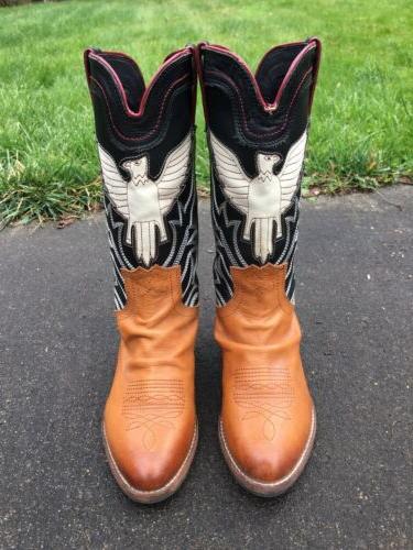 sheldon women brown leather western eagle inlay