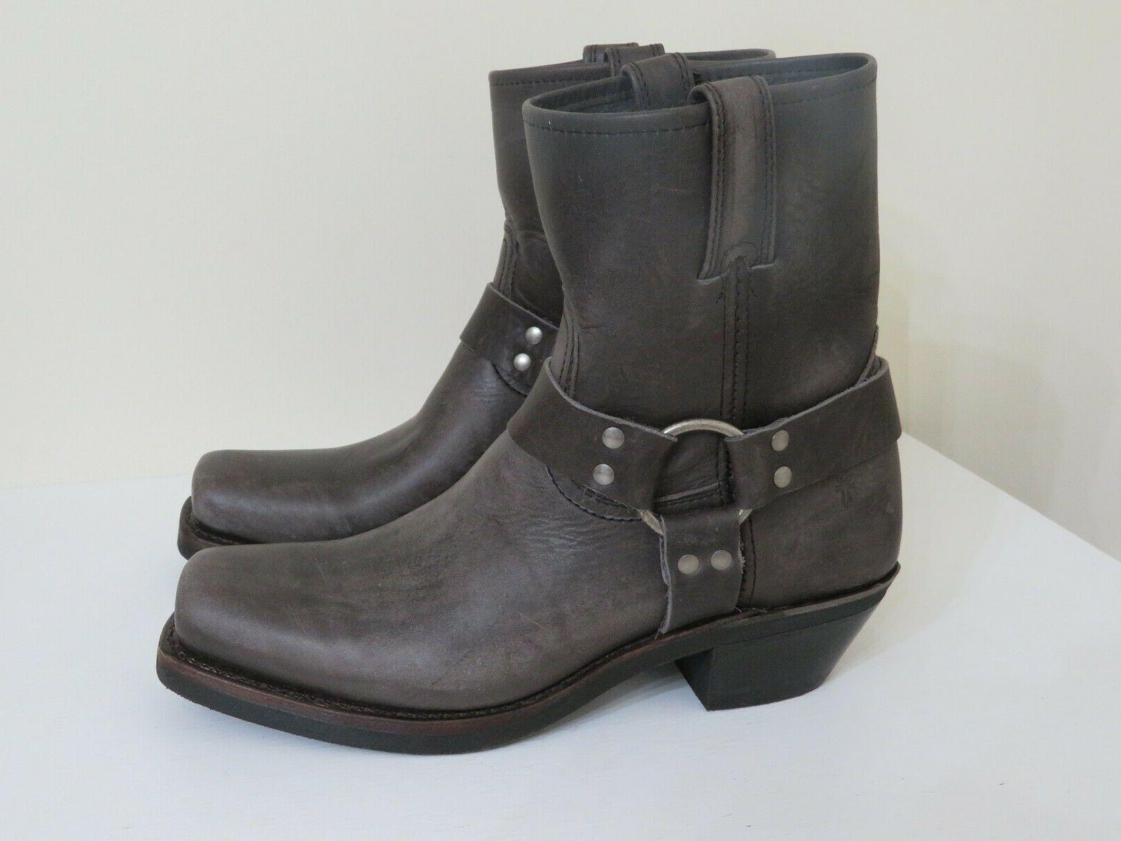 smoke gray leather pull on ankle boots