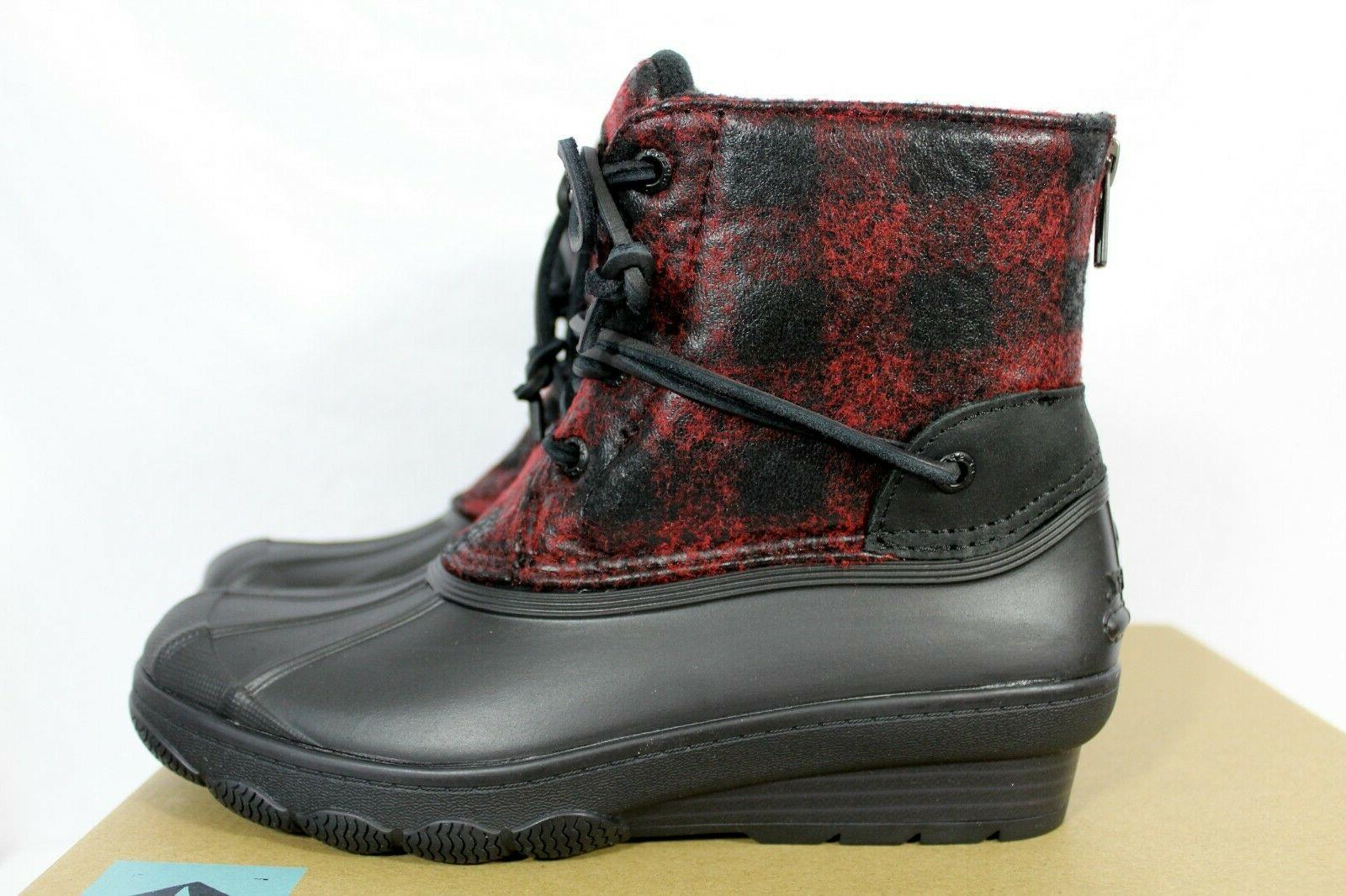 SPERRY Women's Duck Boots Red Plaid Size 5.5