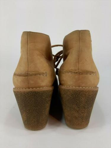 Sperry Top Sider Prow Ankle Wedge Boots Beige 9.5