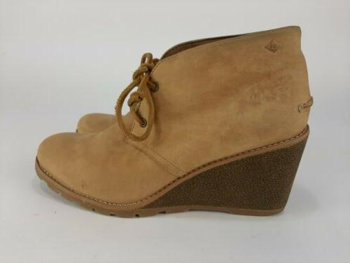 Sperry Sider Prow Ankle Wedge Boots Beige