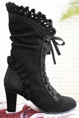 Steampunk Lolita Womens Boots Victorian Vintage Gothic Cospl