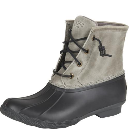 Sperry Top-Sider Women's Saltwater Rain Boot, Black/Grey, 8