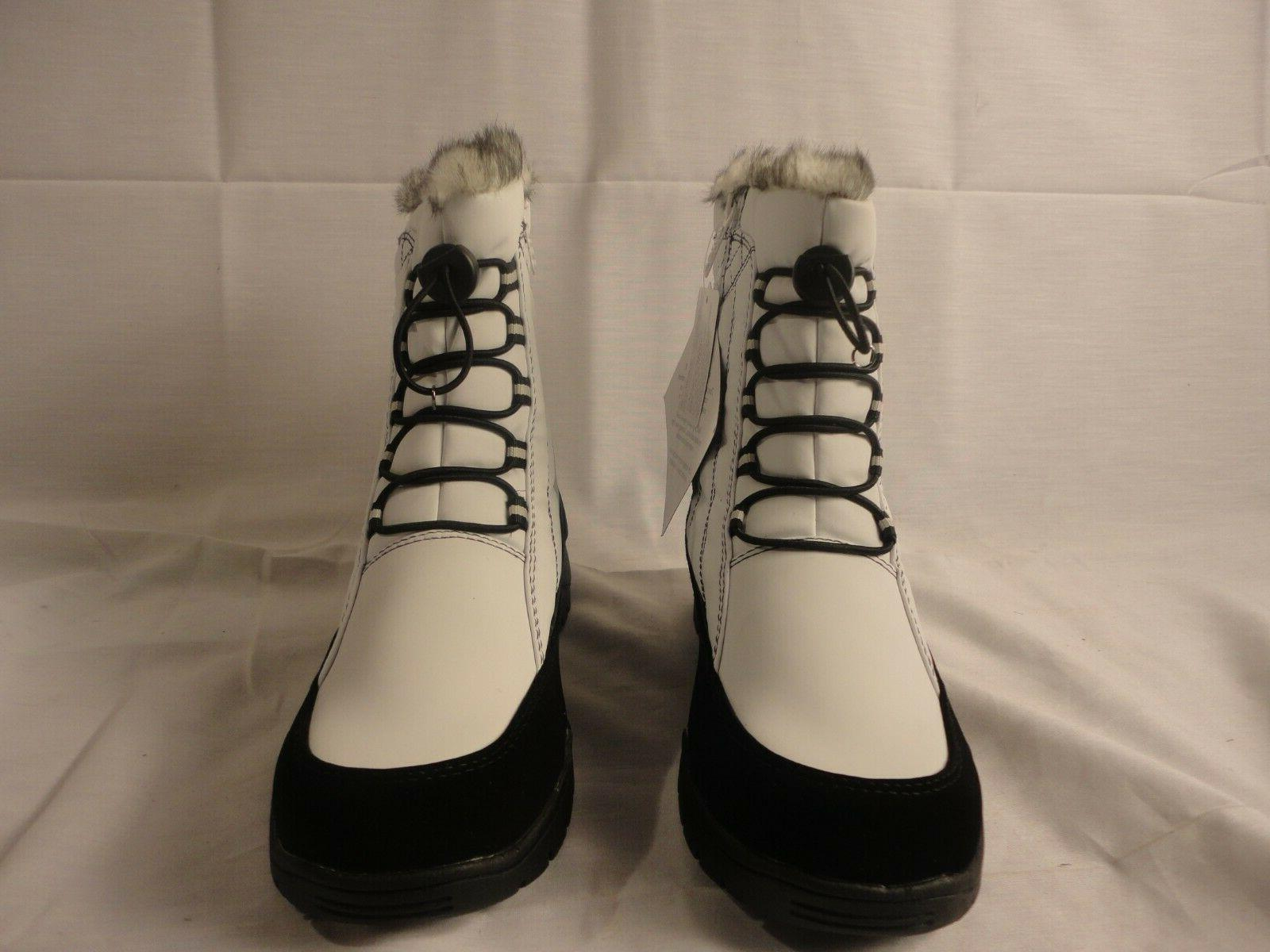 Totes Elle White Boots Fur Top Size 8M Brand New Tags