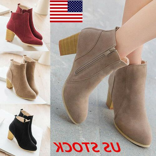 US Casual Womens Ankle Boots Faux Fur Suede Side Zipper Thic