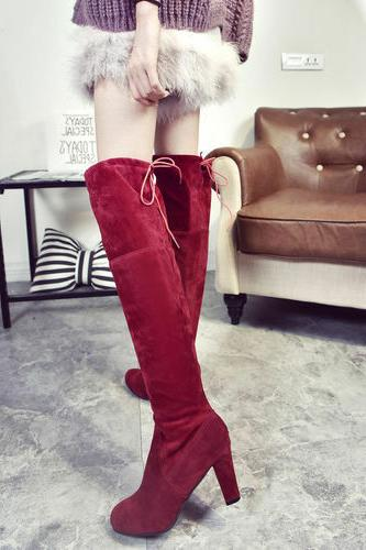 US Womens Suede Over Knee Boots Block Lace Thigh Stretch Shoes