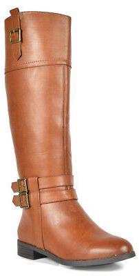 US Women's Fashion Zipper Low Heel Riding Wide Calf Knee Hig