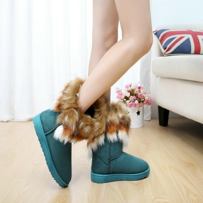 US Women's Warm Suede Fur Short Boots Platform